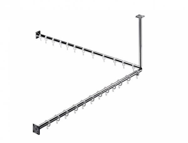 Emco system 2 Duschvorhang-Set 1200mm 2 Stangen 2x Befestigung 24x Ringe - 358700123