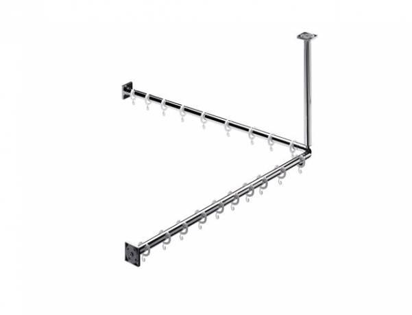 Emco system 2 Duschvorhang-Set 900mm 2 Stangen 2x Befestigung 18x Ringe chrom - 358700121