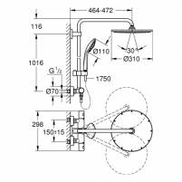 Grohe Duschsystem Euphoria XXL 310 26075 mit Thermostatbatterie supersteel - 26075DC0