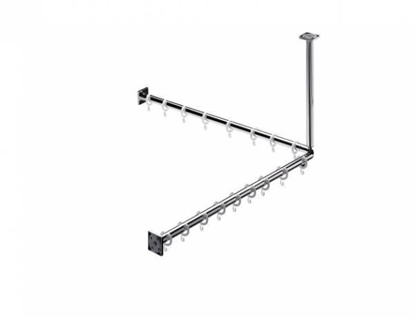 Emco system 2 Duschvorhang-Set 800mm 2 Stangen 2x Befestigung 16x Ringe chrom - 358700120